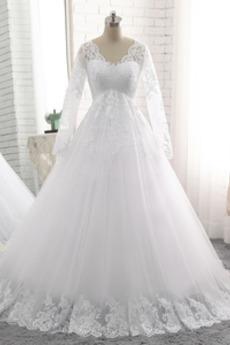 Krajka Sál Vysoký pasu Říše Mateřství Formální Svatební šaty