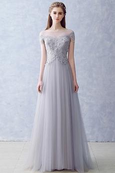 Krátký rukáv Iluze Elegantní A-Čára Léto Přirozeného pasu Večerní šaty