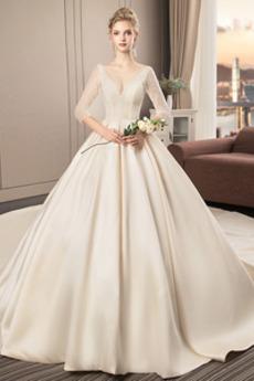 S hlubokým výstřihem 3/4 délka rukávů Elegantní Svatební šaty