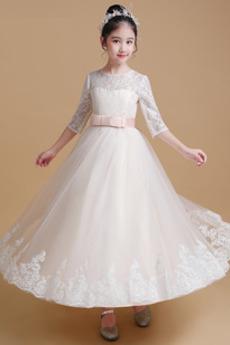 Elegantní Představení Klenot Přírodní pas Tři čtvrtiny rukávy Květinové šaty