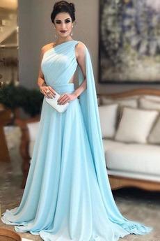 Dlouhý Bez rukávů Šifón Jaro Jedno rameno Dlouhá Promové šaty