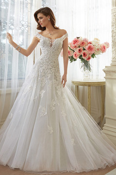 Tyl Skromný Princezna Rosný rameno Kostel Krajka Svatební šaty