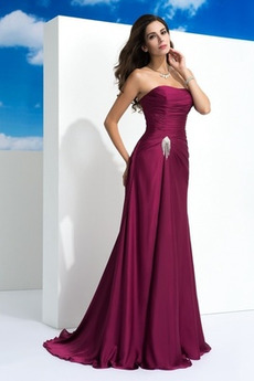 Bez ramínek Elegantní Přírodní pas Dlouho Rouška Večerní šaty