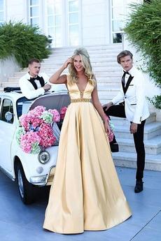 Přírodní pas Přikrýt A-Čára V-krk Podzim Hluboký výstřih do V Promové šaty