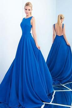 Bezzadu Dlouhá Oslava Šperk A-Čára Střední Jednoduché Promové šaty