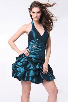 V-krk Trojúhelník Lištování Oceán modrý Zašněrovat boty Promové šaty