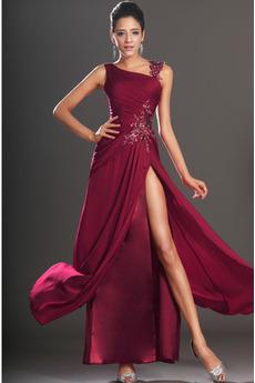 Šifón Tmavě červená Plášť Stehna vysoká štěrbina Promové šaty