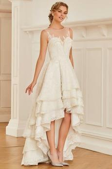 Asymetrické Kaskádové Zip nahoru Satén Asymetrické Svatební šaty