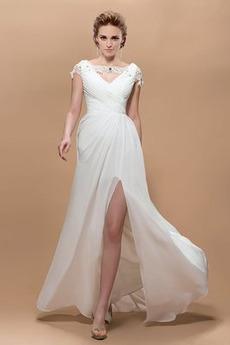 Přikrýt Míč Přírodní pas Šifón V-krk Délka podlahy Večerní šaty