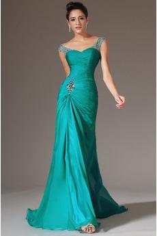 Mořská panna Střední záda Jednoduché Dlouhý Šifón Večerní šaty