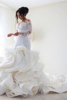 Vícevrstvý Královský vlak V-krk Mořská panna Podzim Svatební šaty
