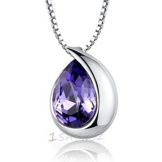 Velkoobchod stříbrné srdce ve tvaru módní Crystal ženy náhrdelník - Strana 1