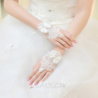 Svatební rukavice Krátké bez ramínek dekorace Čipka Fabric Mitten - Strana 2