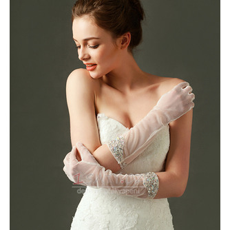 Svatební rukavice Tylový odstín Požadovaný Pearl Podzim Plný prst - Strana 2
