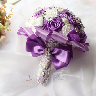 Nevěsta stužka vzrostla perel barvu pásu stuhu drží květiny - Strana 3
