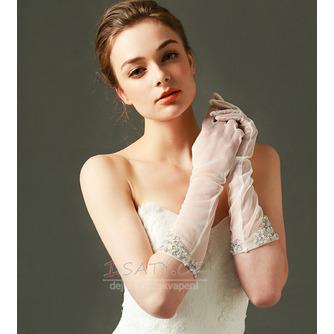 Svatební rukavice Tylový odstín Požadovaný Pearl Podzim Plný prst - Strana 1