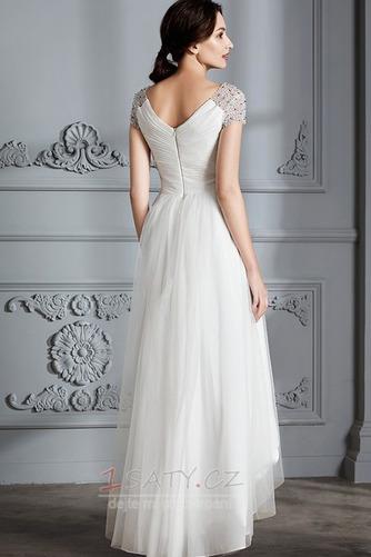 Krátký rukáv Střední Asymetrické V-krk Lištování Svatební šaty - Strana 2