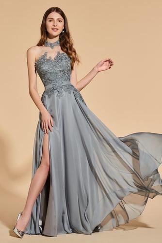 Přikrýt Boční štěrbinou Míč A-Čára Délka patra Vysoká krk Promové šaty - Strana 1
