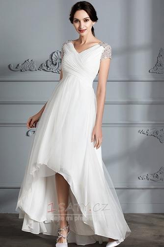 Krátký rukáv Střední Asymetrické V-krk Lištování Svatební šaty - Strana 4