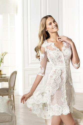 Plášť V-krk Krajka Vysoká nízká Krátký Okouzlující Svatební šaty - Strana 3
