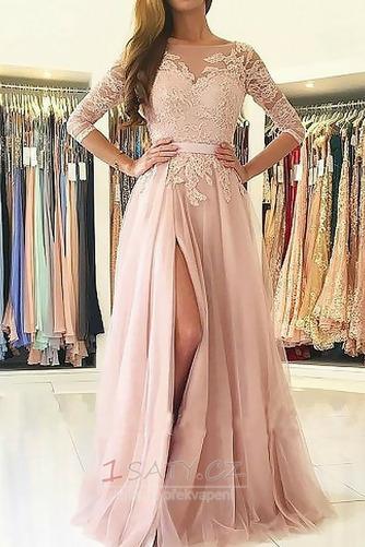 A-Čára Podzim Délka podlahy Elegantní Tlačítka Společenské šaty - Strana 1