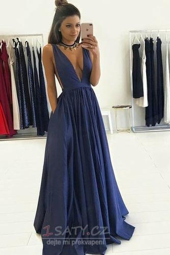 Satén Přirozeného pasu Výkon Hluboký výstřih do V Promové šaty - Strana 1