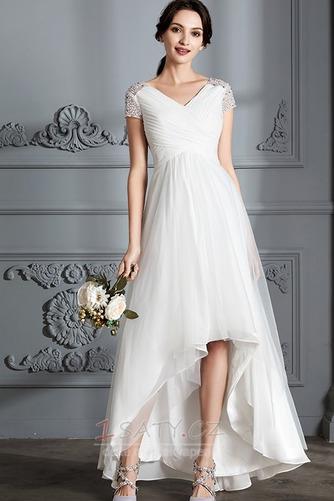 Krátký rukáv Střední Asymetrické V-krk Lištování Svatební šaty - Strana 1