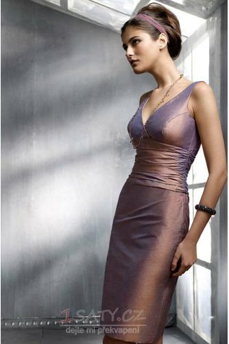 Jednoduchý Kolena délka V-krk Zip nahoru Plášť Koktejlové šaty - Strana 1