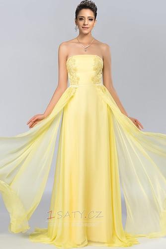 Bez ramínek Elegantní Šifón Dlouho A-Čára Střední Promové šaty - Strana 1