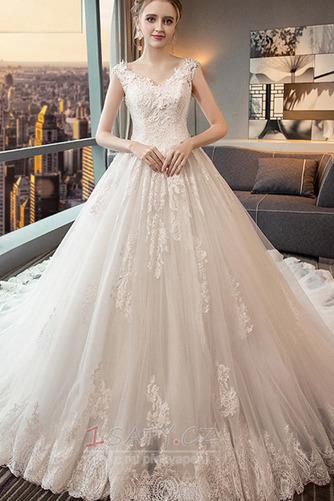 Bezzadu Krajkou Overlay Střední Formální Aplikací Svatební šaty - Strana 1