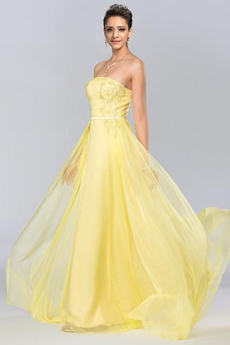Bez ramínek Elegantní Šifón Dlouho A-Čára Střední Promové šaty - Strana 2
