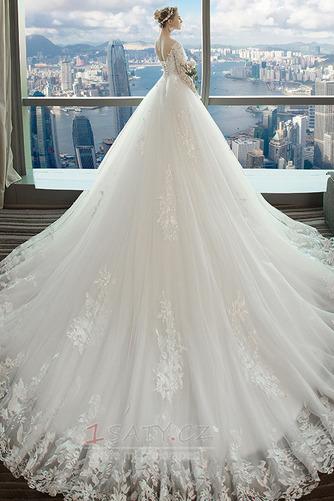S hlubokým výstřihem Kostel Nášivky V-krk A-Čára Svatební šaty - Strana 2