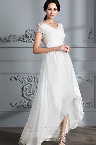 Krátký rukáv Střední Asymetrické V-krk Lištování Svatební šaty - Strana 3