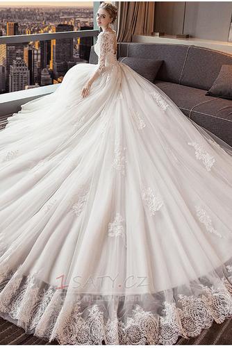 Bezzadu Krajkou Overlay Střední Formální Aplikací Svatební šaty - Strana 3
