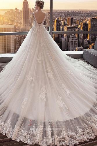 Bezzadu Krajkou Overlay Střední Formální Aplikací Svatební šaty - Strana 2
