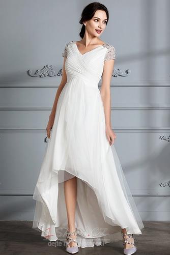 Krátký rukáv Střední Asymetrické V-krk Lištování Svatební šaty - Strana 5