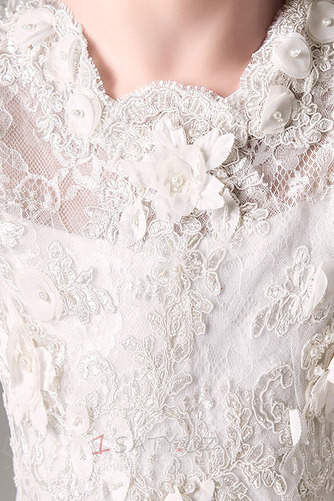 Zip nahoru T-shirt rukáv Střední A-Čára Květinové dívky šaty - Strana 5