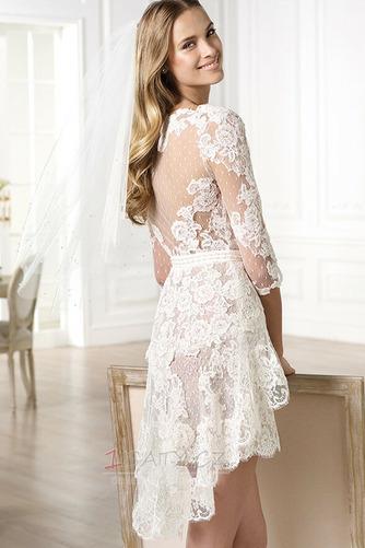Plášť V-krk Krajka Vysoká nízká Krátký Okouzlující Svatební šaty - Strana 2