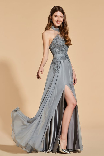 Přikrýt Boční štěrbinou Míč A-Čára Délka patra Vysoká krk Promové šaty - Strana 4