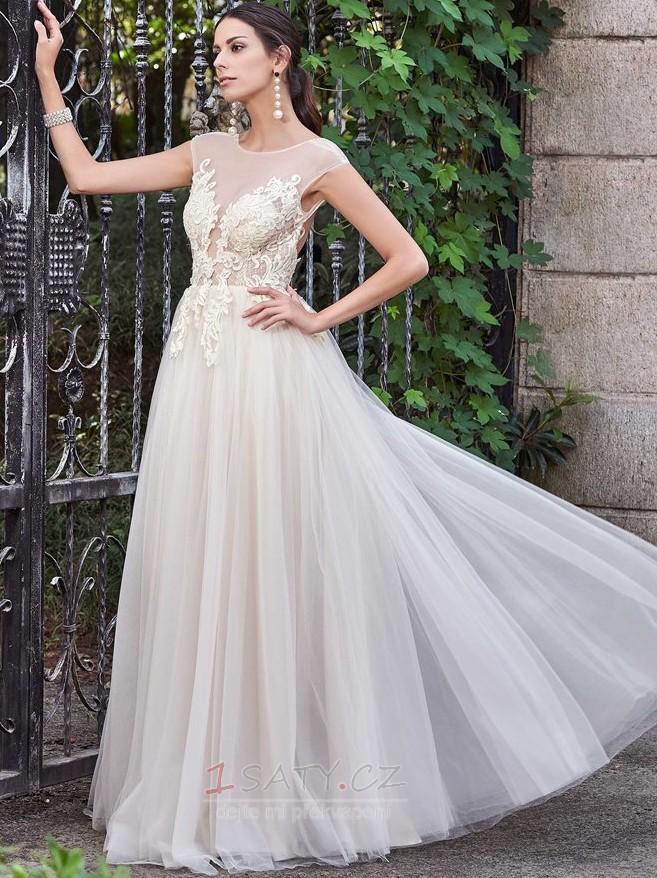 92315f407440 ... Tyl A-Čára Přikrýt Přírodní pas Bezzadu Elegantní Svatební šaty -  Strana 2 ...